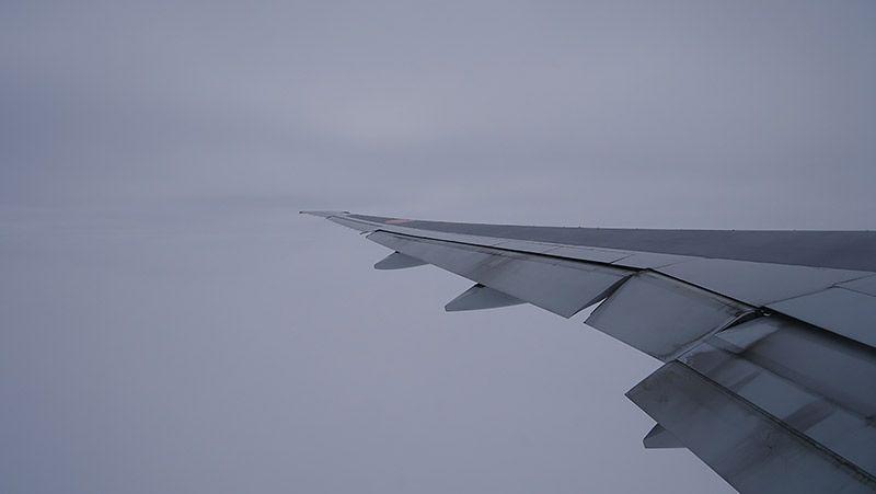 飛行中の飛行機の左翼