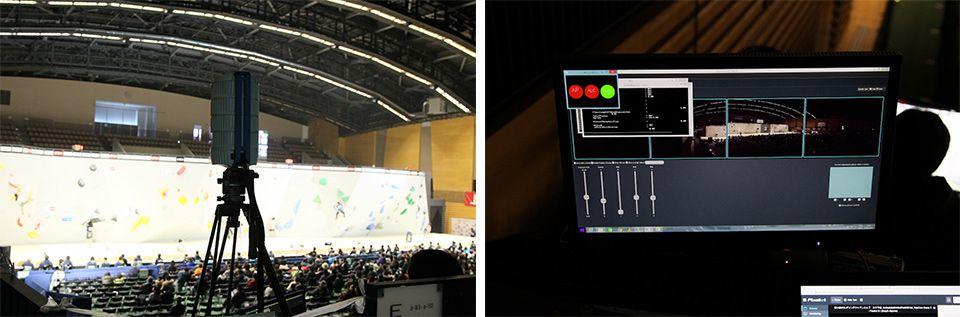 ボルダリング・ジャパンカップ会場に設置されたPixellot