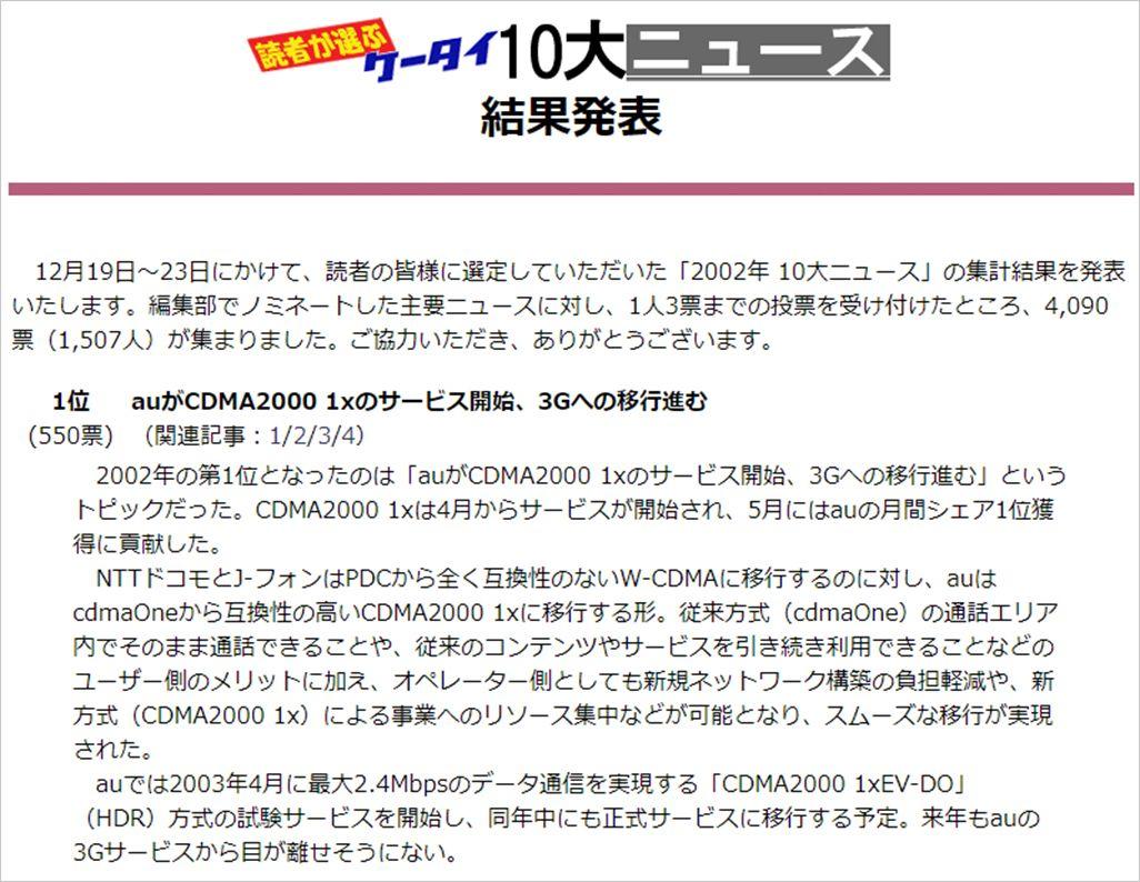2002年の結果(ケータイ Watch)