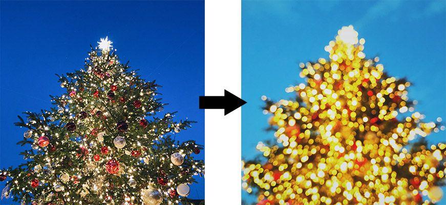 iPhoneクリスマスのイルミネーションの撮影