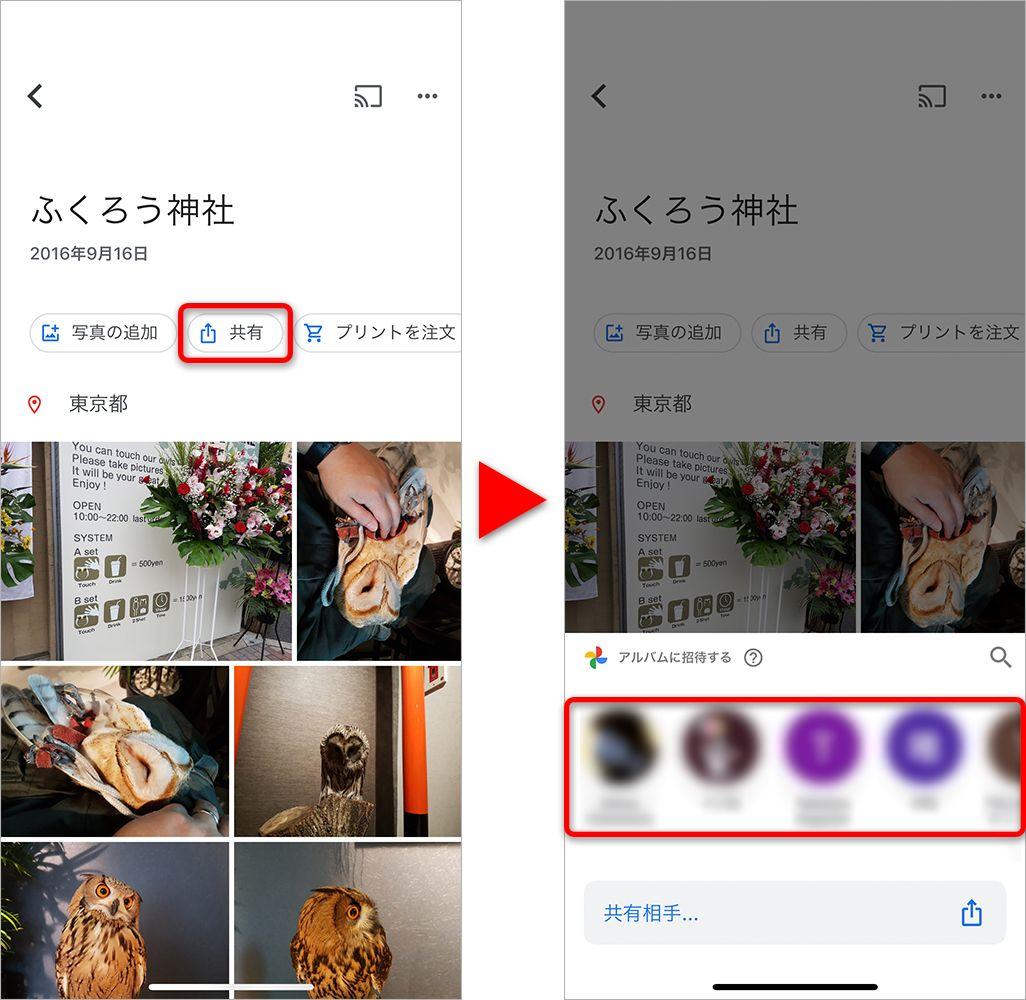 Google フォトのアルバム共有