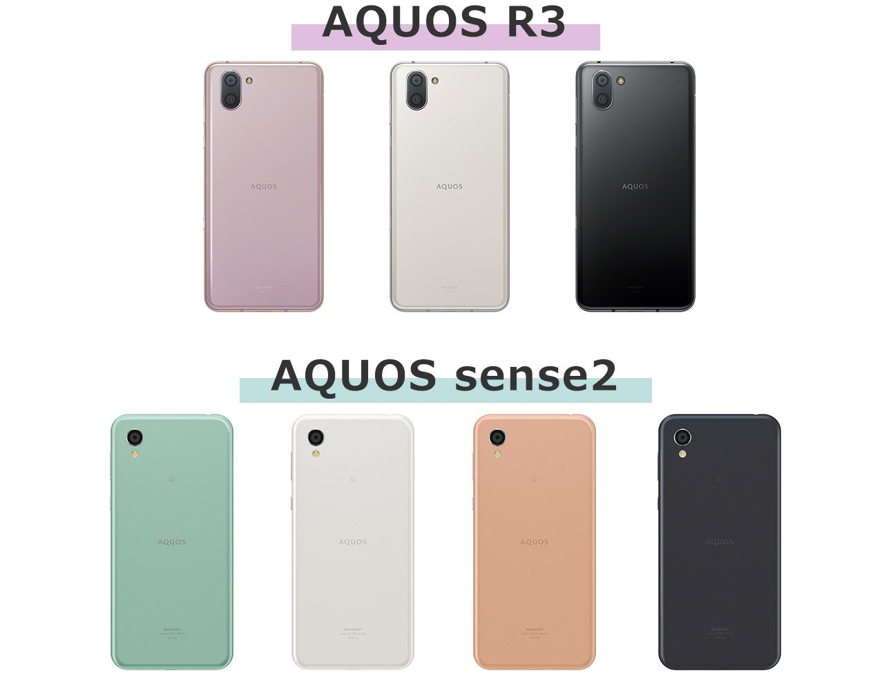 AQUOS R3とAQUOS sense2のカラーバリエーション