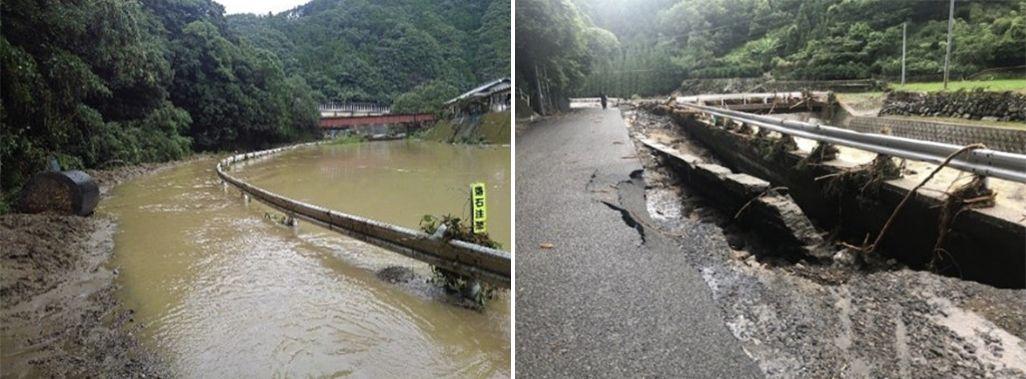 害により浸水した熊本県の国道