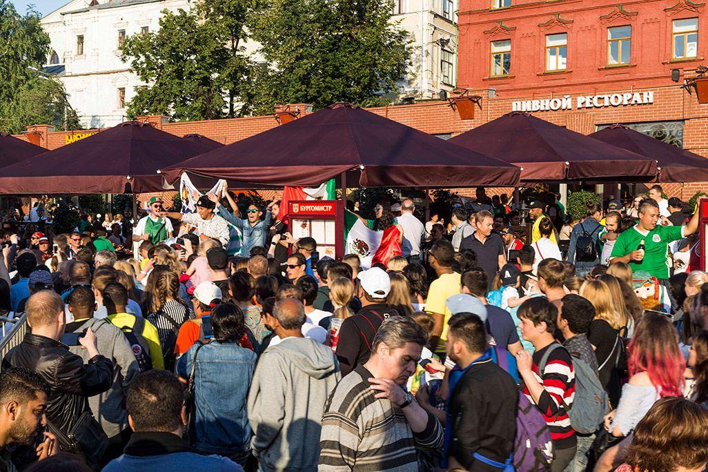 モスクワ市内で開催されているサポーター向けの「ファンフェスタ」