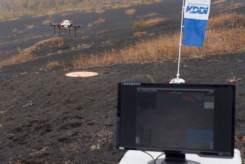 昨年10月に行われた富士山でのスマートドローン実証実験