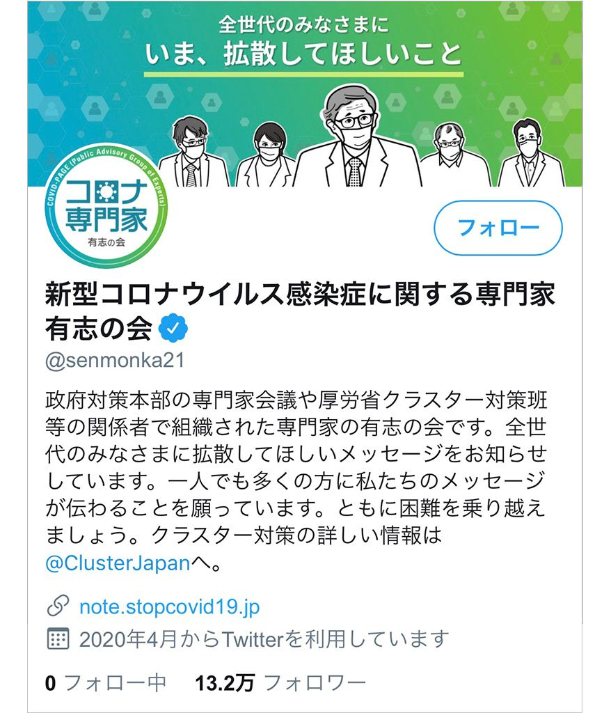 新型コロナウイルス感染症に関する専門家有志の会のTwitter
