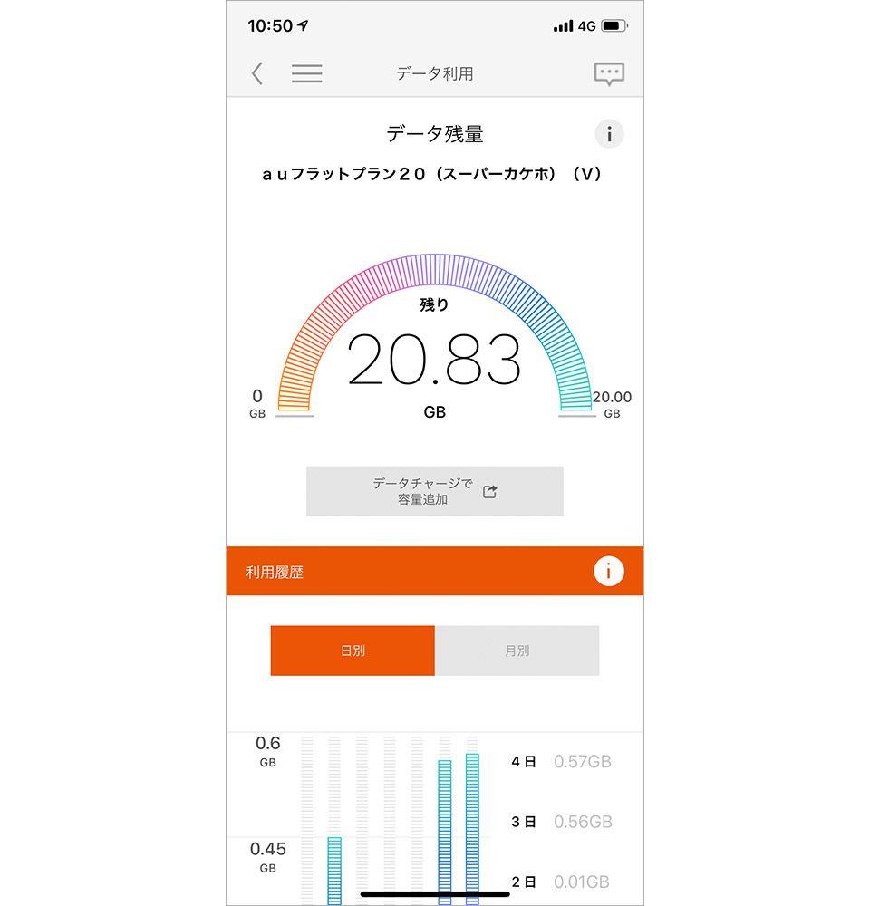 「My au」アプリの画面