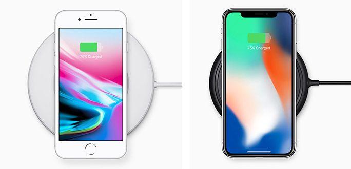 ワイヤレス充電中のiPhone 8とiPhone X
