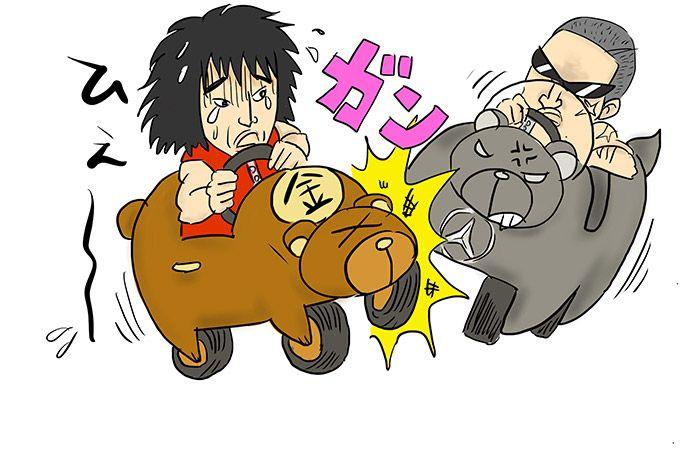 金太郎のクマが別のクマと接触事故
