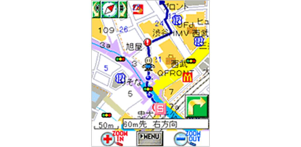 2003年当時に提供されていたEZナビウォークの地図画面