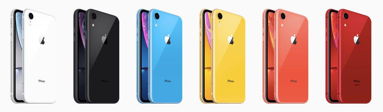 iPhone XR カラーホワイト、ブラック、ブルー、イエロー、コーラル、(PRODUCT)RED