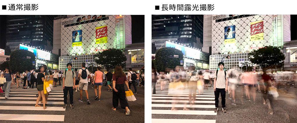 渋谷のスクランブル交差点を長時間露光で撮影