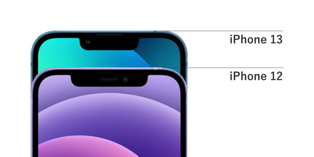 iPhone 13とiPhone 12のノッチ比較