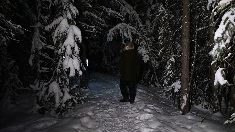 雪の積もった木々の雪道を歩く地主