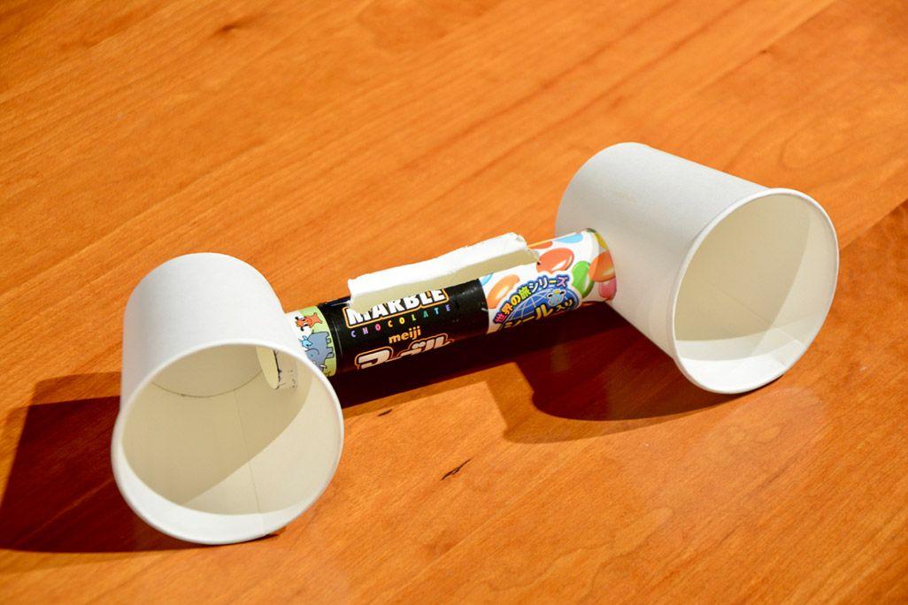 紙コップスピーカーの完成