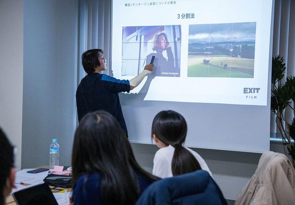 画面構成について語るEXIT FILM INC.田村祥宏さん
