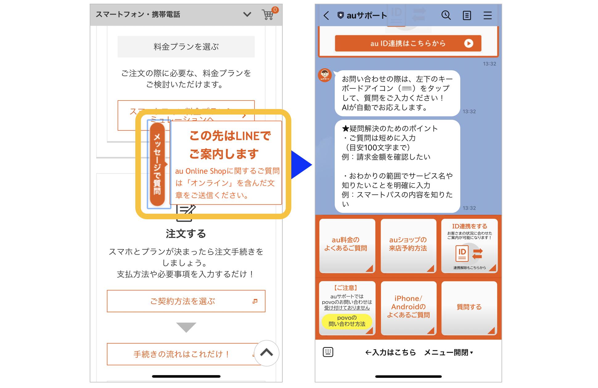 auのはじめてのオンラインショップ講座サイトのチャットメッセージによる質問画面