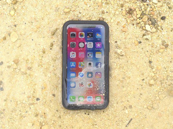 砂浜と防水ケース Extreme for iPhone X