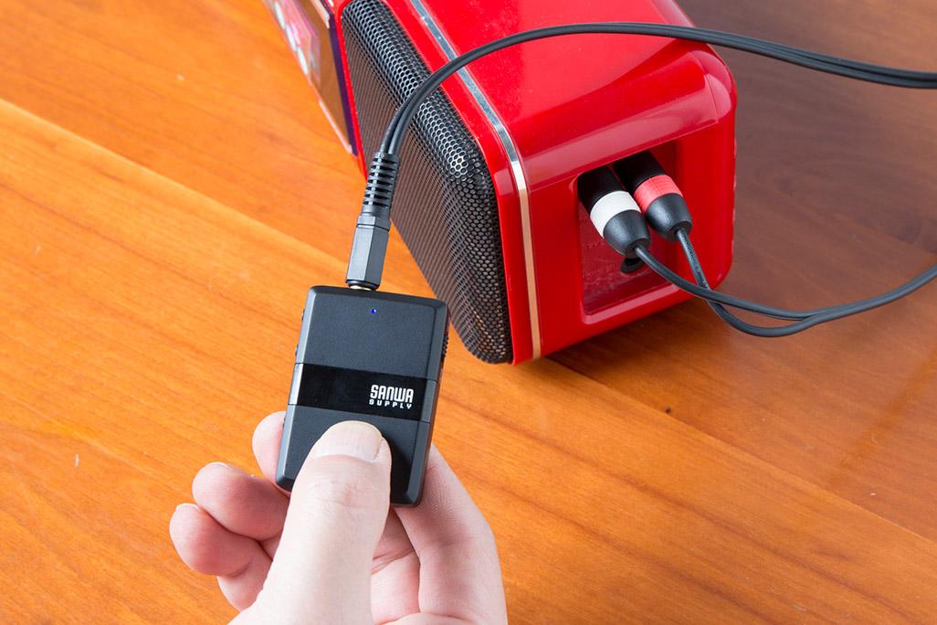 サンワダイレクト Bluetoothオーディオレシーバー&トランスミッターとラジカセの接続