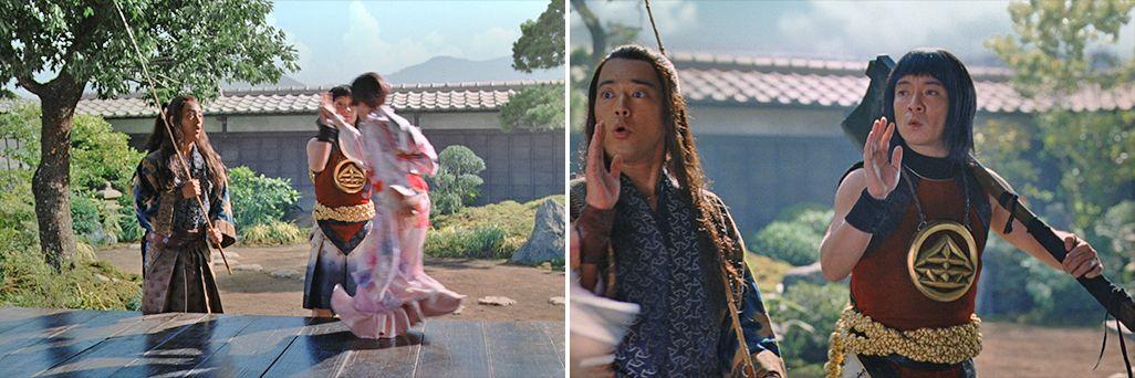 桃姫とハイタッチする金太郎と浦島太郎