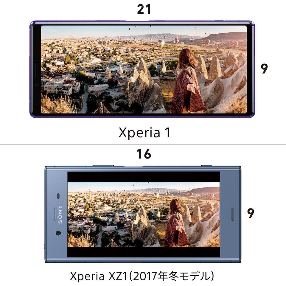 21:9(Xperia 1)と16:9(Xperia XZ1)の比較