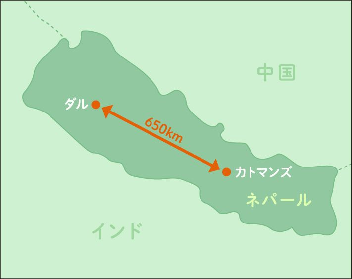 ネパールのカトマンズとダル地区の地図