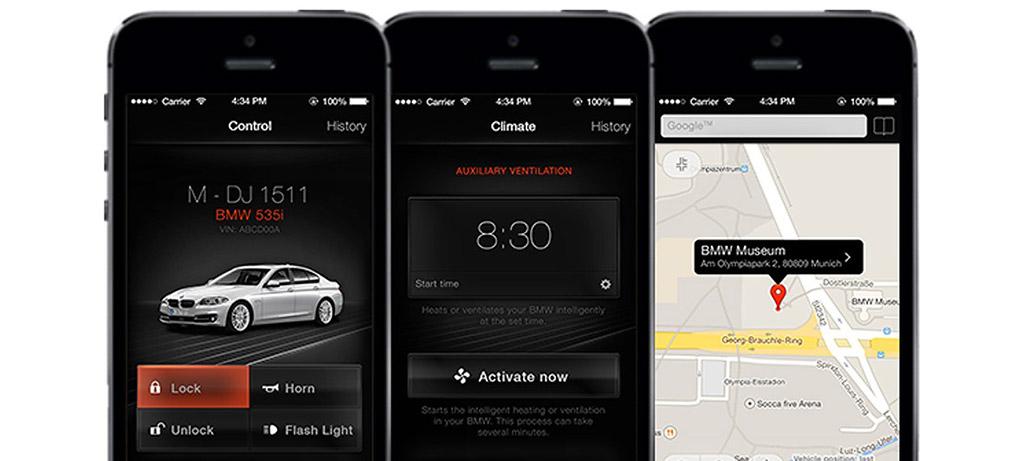 「My BMW Remote」アプリ画面
