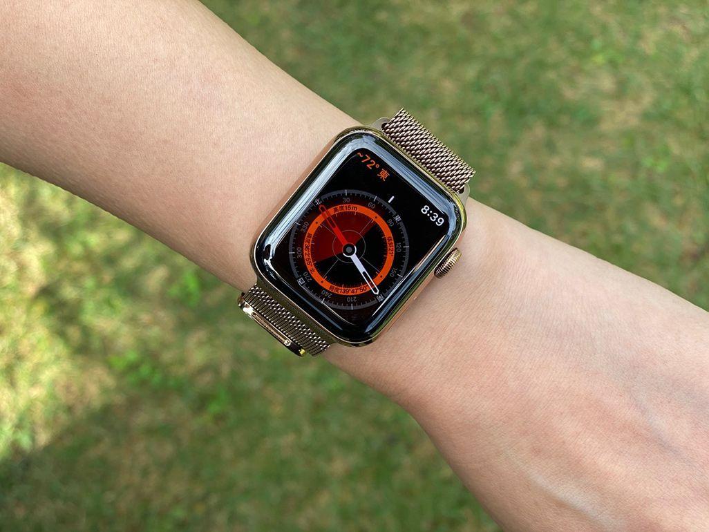 腕に巻かれた「Apple Watch Series 5」のコンパス画面