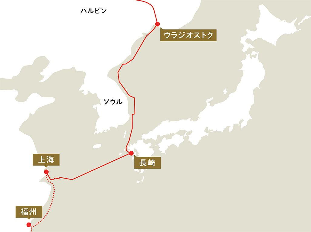 長崎~上海、長崎~ウラジオストク間をつなぐ海底電信ケーブル