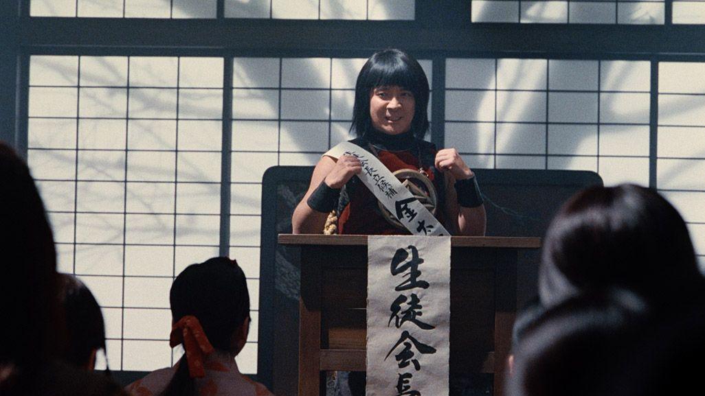 生徒会長選挙で演説する金ちゃん
