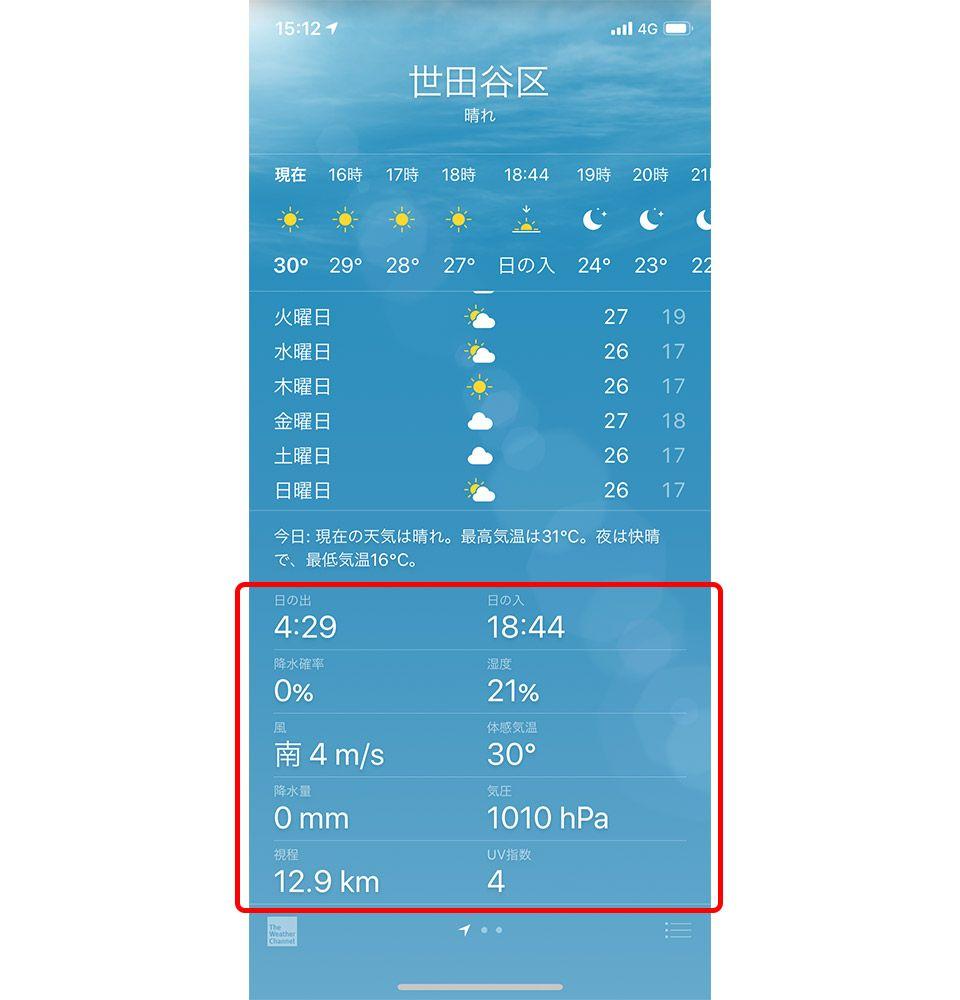 iPhone 天気アプリ