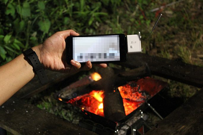 キャンプ場でiPhoneでテレビを視聴