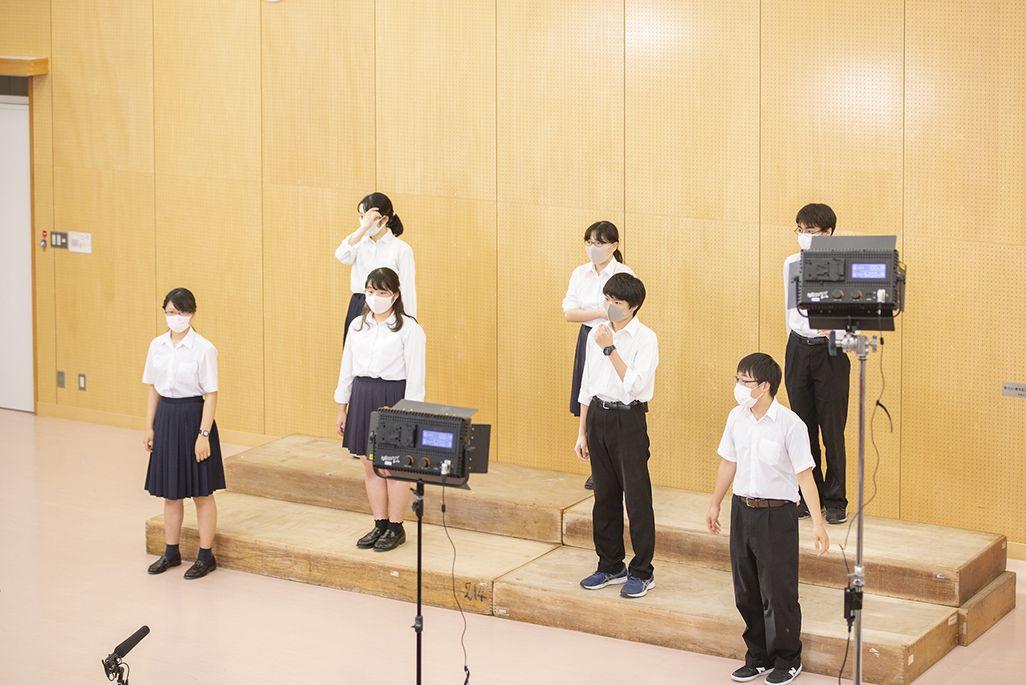多摩高校合唱部の合唱映像収録の模様