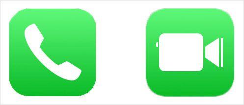 「電話」アイコン(左)と「FaceTime」アイコン(右)