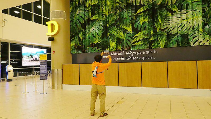 空港でポストカードを撮影している地主の後ろ姿