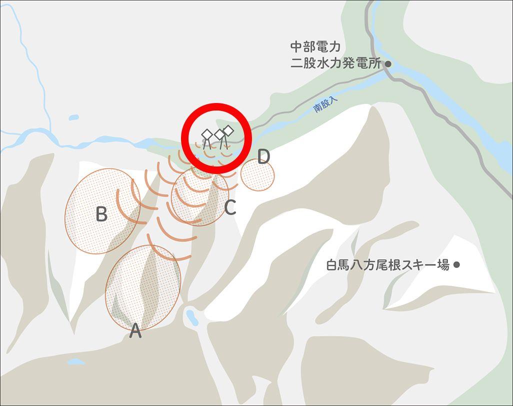 白馬村での4G LTE化工事現場地図