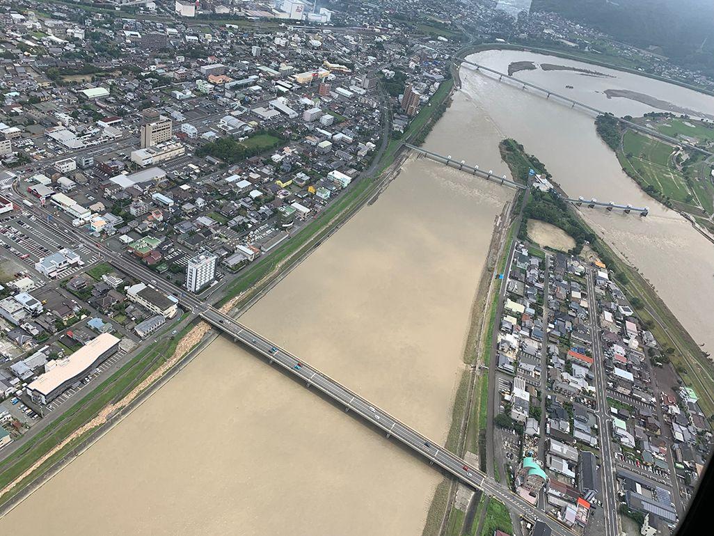 令和2年7月豪雨により濁った熊本の河川