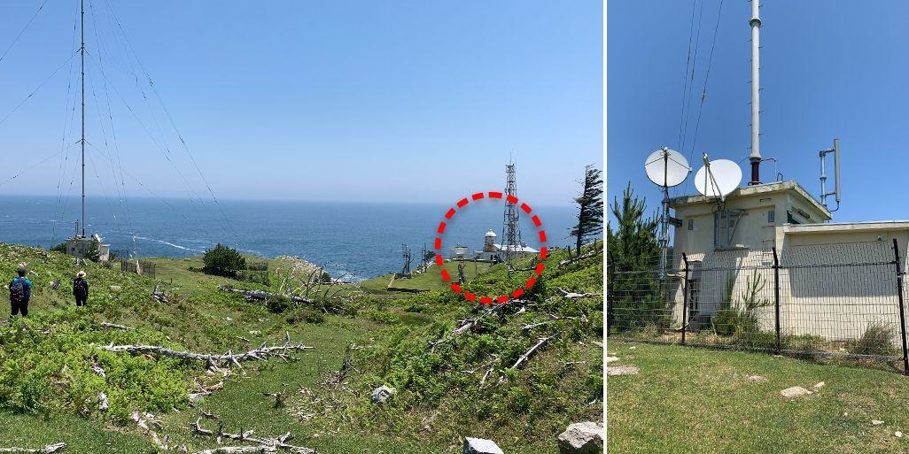 金華山灯台と新たに設置された基地局
