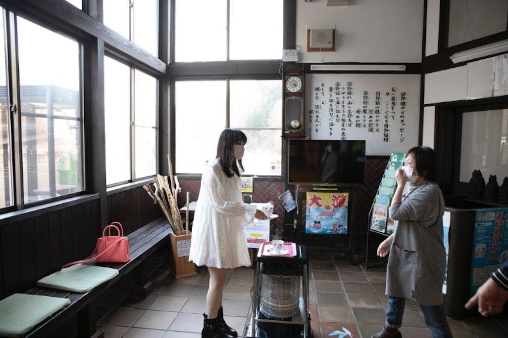 田野畑駅のコーヒー