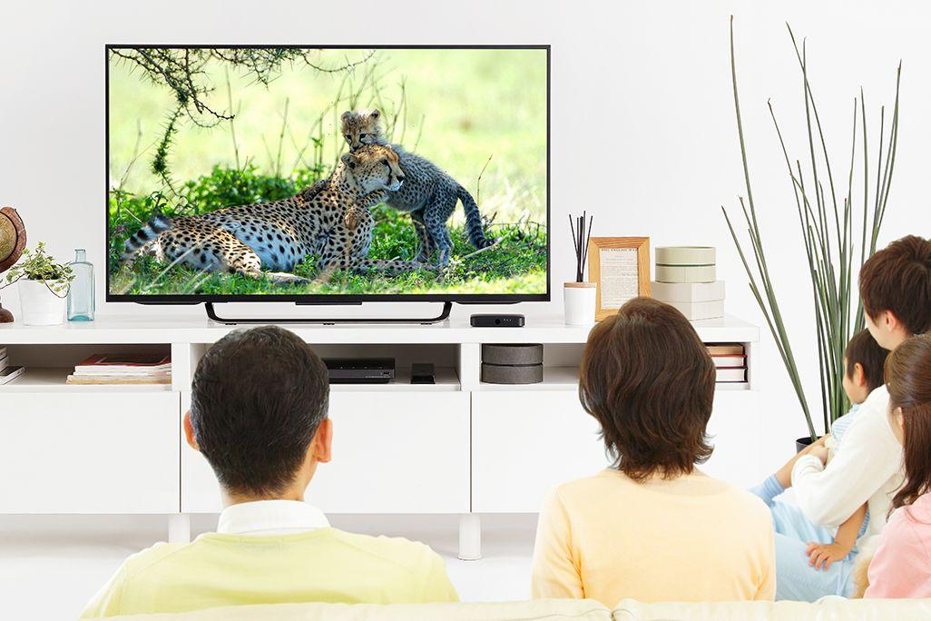 家でテレビを見る