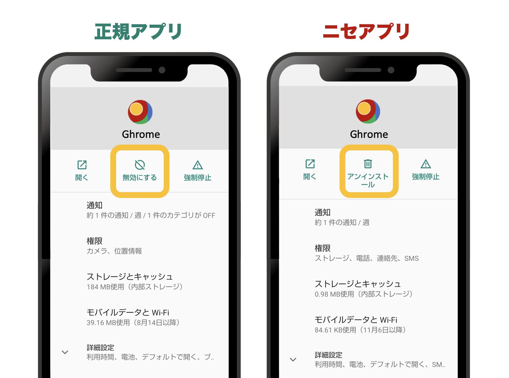 正規のブラウザアプリとニセモノのブラウザアプリの対比