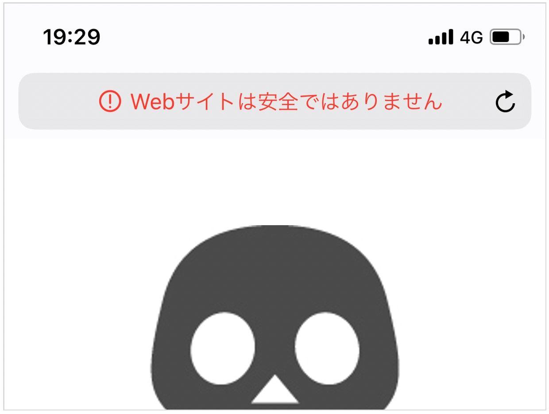 iPhoneのSafariで赤字の「安全ではありません」が表示されたサイトイメージ