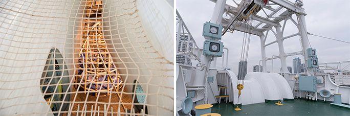 「KDDIオーシャンリンク」、ケーブルタンクとケーブルを這わせるローラー