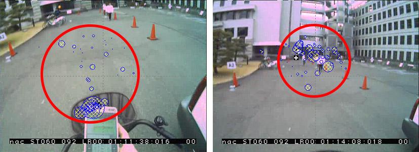 京都府庁の敷地内で行われたながらスマホ実証実験の様子