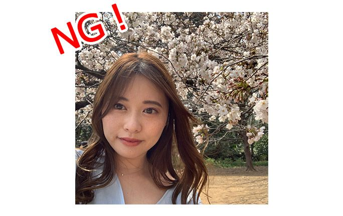 桜と自撮り失敗例