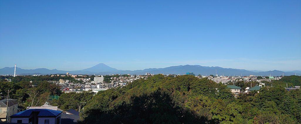 郊外で出合った見られる山の稜線の風景