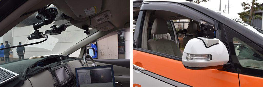 5G自動運転車には正面、後方、左右ドアミラー部とスピードメーターが見える位置にフルHDカメラを設置