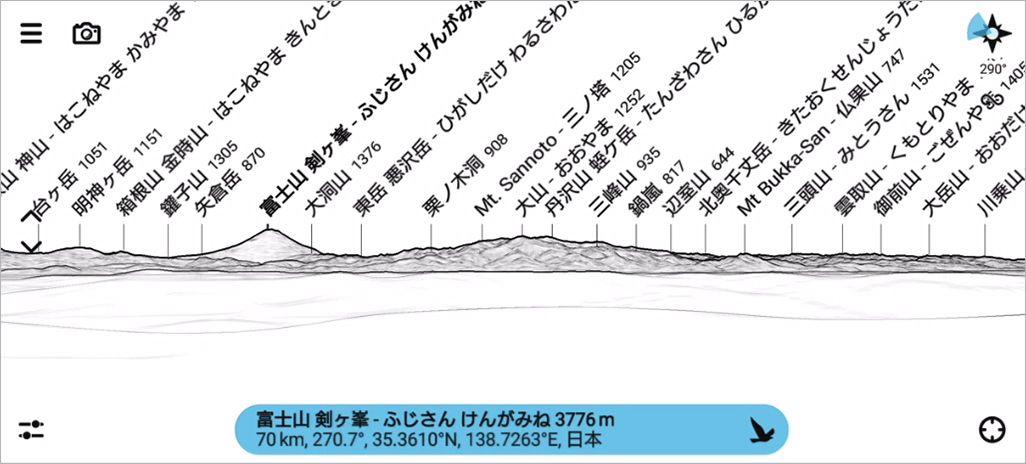 PeakFinder ARで見た線画の風景