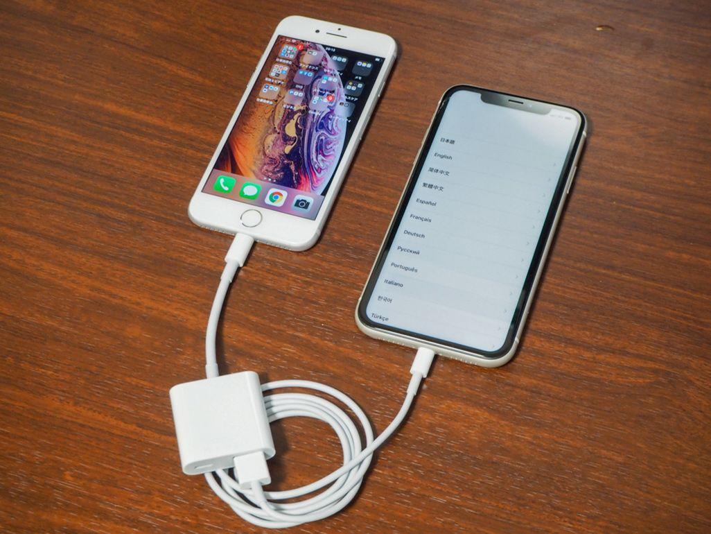 Lightning-USB 3カメラアダプタ(左)とLightning-USBケーブル(右)