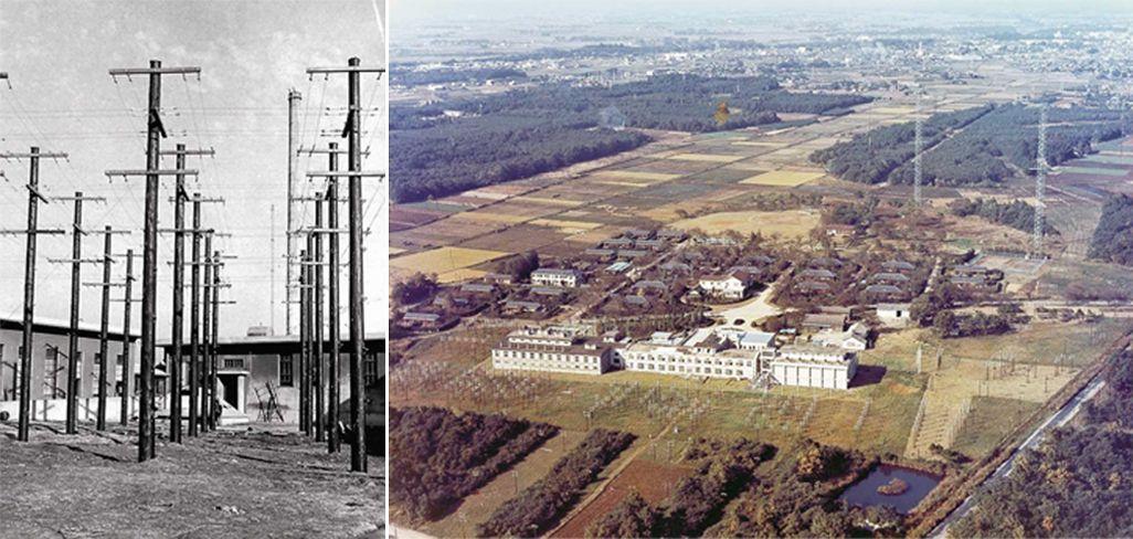 小山送信所(左は1930年頃、右は第二次世界大戦の後)